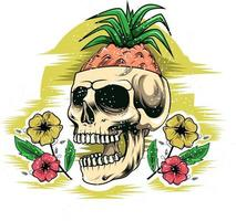 26. summer skull with beauty flowers vector