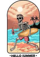 23. summer skull bring surfing board vector