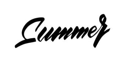 Script hand lettering summer isolated on white background. Vector illustration for print, poster, banner, t-shirt