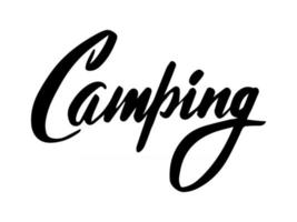 Script hand lettering camping isolated on white background. Vector illustration