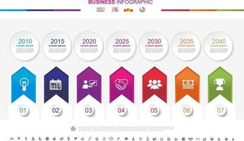 Timeline infographics business success concept with graph. No7 vector