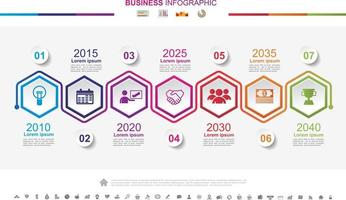 Timeline infographics business success concept with graph. No8 vector