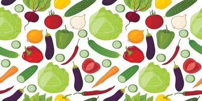 Vector seamless pattern of vegetables drawn in cartoon style. For restaurant menus, packaging, and so on.