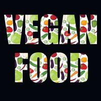 Vector lettering with colorful vegetable pattern. Vegetarian food. The concept of healthy eating.