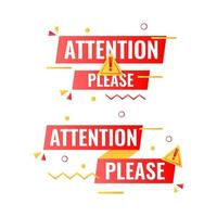 attention please banner label with flat geometric memphis elements vector