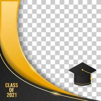 abstract luxury background frame graduation class of 2021 background design vector illustration