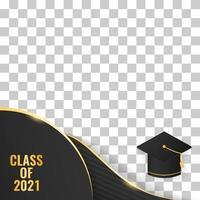 golden luxury class of 2021 graduation with cap vector illustration