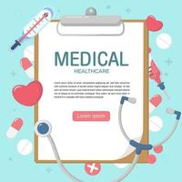 Cute medical elements background in flat style. vector