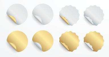 Realistic set white and gold stickers or patches mockup. Blank labels of different shapes round and seal circle. 3d vector