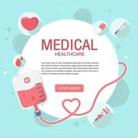 Cute Blood Donation elements banner background in flat style. vector
