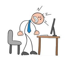 Stickman Businessman Character Getting Angry at the Computer Vector Cartoon Illustration