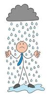 It's Raining Stickman Businessman Character Getting Wet and Unhappy Vector Cartoon Illustration