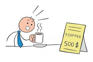 Stickman Businessman Character Drinks Coffee and is Shocked to See the Expensive Price of the Coffee Vector Cartoon Illustration