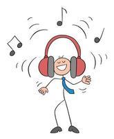 Stickman Businessman Character Listening to Loud Music with Big Earphones Vector Cartoon Illustration
