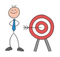 stickman, hombre de negocios, carácter, golpea el objetivo, de, ojo de toro, y, orgulloso, vector, caricatura, ilustración vector