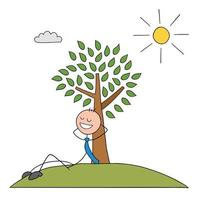 Stickman Businessman Character Leaning Against a Tree and Resting in the Sunshine Vector Cartoon Illustration