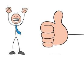 Giving Thumbs Up and Stickman Businessman Character Very Happy Vector Cartoon Illustration