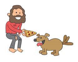 Cartoon Homeless Man Sharing Pizza Slice with Dog Vector Illustration