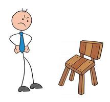 Stickman Businessman Character Gets Angry When He Sees the Wooden Chair Vector Cartoon Illustration