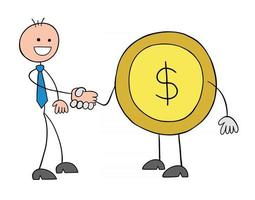 Stickman Businessman Character Shaking Hands with Dollar Coin Vector Cartoon Illustration