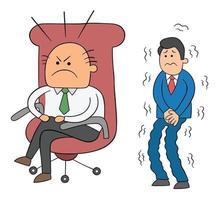 Hombre jefe enojado de dibujos animados sentado en su silla y trabajador asustado esperando detrás de él ilustración vectorial vector