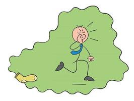 Stickman Businessman Character Covers His Nose from the Nasty Smell of Socks and Runs Away Vector Cartoon Illustration