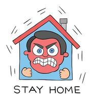 Cartoon Man Stays at Home During the Pandemic But Now He is Very Angry and Can Not Stand It Vector Illustration
