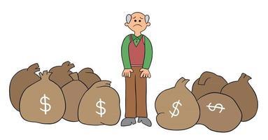 El anciano de dibujos animados tiene un montón de dinero pero no está contento con la ilustración vectorial vector