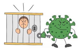 Cartoon Coronavirus Monster Locked the Man in Jail Vector Illustration