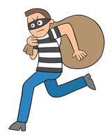 Hombre ladrón de dibujos animados huyendo con ilustración de vector de saco