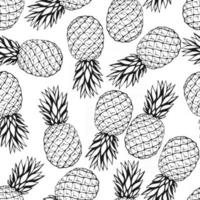 Seamless pattern with hand drawn fruits elements pineapple. Vegetarian wallpaper. For design packaging, textile, background, design postcards and posters. vector