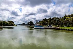 Peaceful setting on the Waikato River. Waiaku, Auckland, New Zealand photo