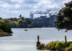 New Zeland Steel factory on the Waikato River. Waiaku, Auckland, New Zealand photo