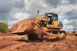 Bulldozer work on a building site photo