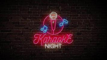 vídeo de néon à noite de karaokê video