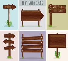 seis señales de madera vector