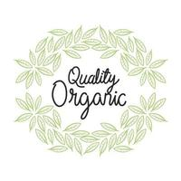 organic quality with leaves vector