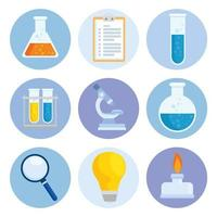 Laboratory equipment icon collection vector