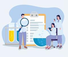 scientists with laboratory icons vector
