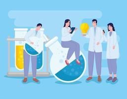 women and men with laboratory icons vector