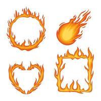 four fire flames vector