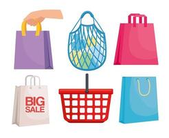 six shopping packings vector
