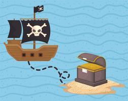 treasure pirate route vector