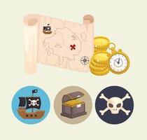 treasure pirates map vector