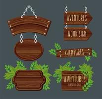 siete señales de madera vector