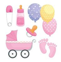 six baby icons vector