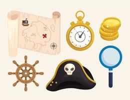 treasure pirates icons vector