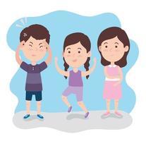 three autistic kids vector