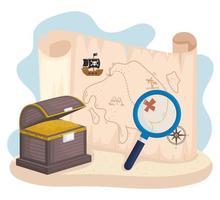 treasure pirate guide vector