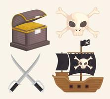 treasure pirates items vector
